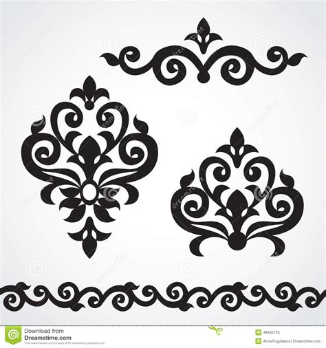 ornament design elements vector set vector set with classical ornament in victorian style