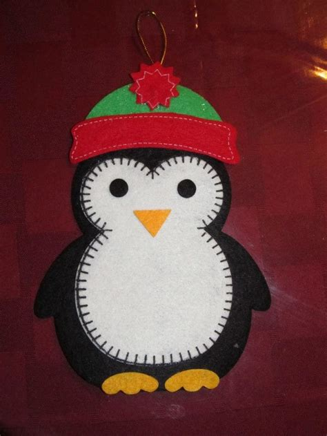 penguin felt ornament pinguins pinterest