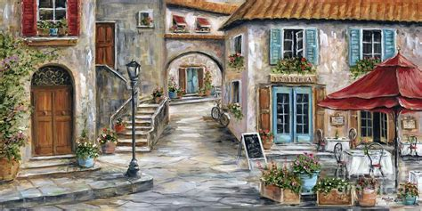 Wall Murals Forest Scene tuscan street scene painting by marilyn dunlap