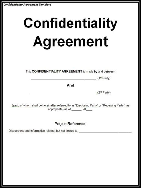 Confidentiality Agreement Template Free Word Templates Free Confidentiality Agreement Template Word
