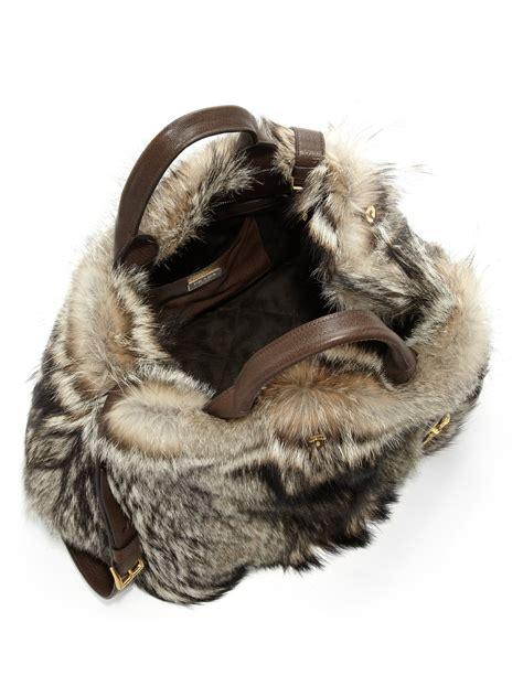 Prada And Marmot Fur Messenger Bag by Prada Fox Fur Messenger Bag Prada Bag On Sale