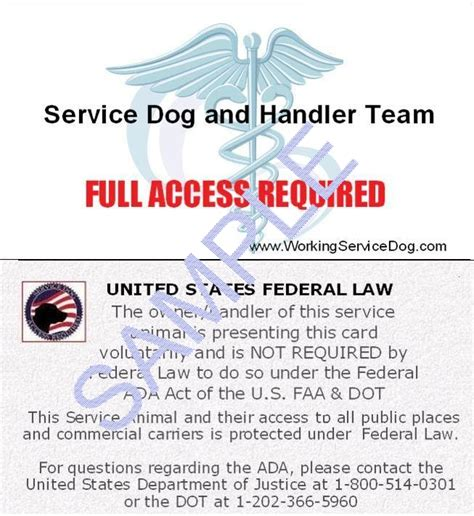 printable service dog id cards ada faa service dog information cards