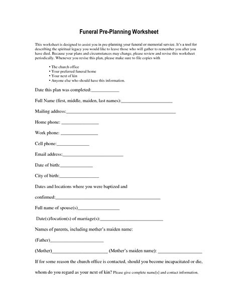 funeral planner template worksheet funeral planning worksheet mifirental free