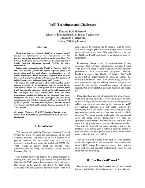 computer research paper research paper on voip technology
