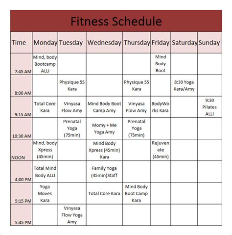 fitness calendar template for workout sheets excel workout