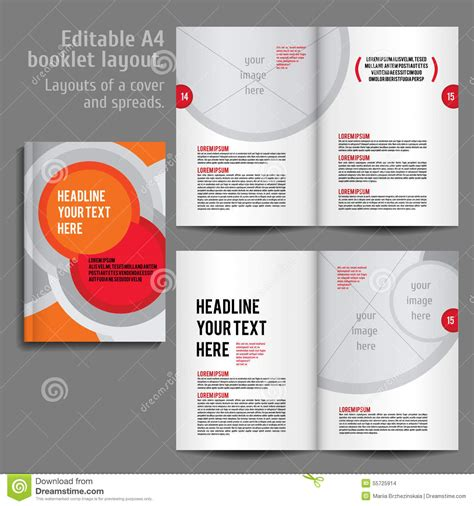 a4 booklet layout design template with cover stock vector
