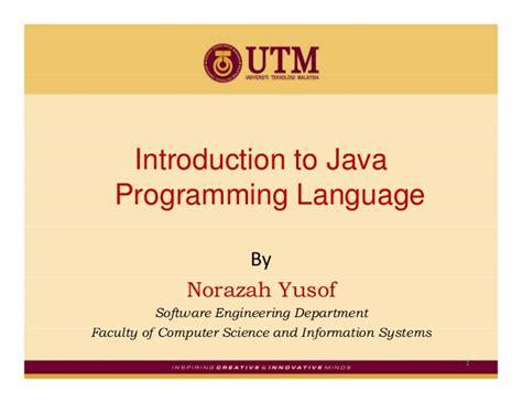 java programming language introduction to java programming language
