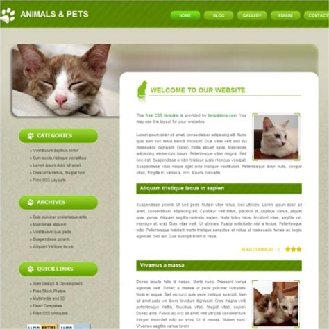 pets free website templates in css html js format for