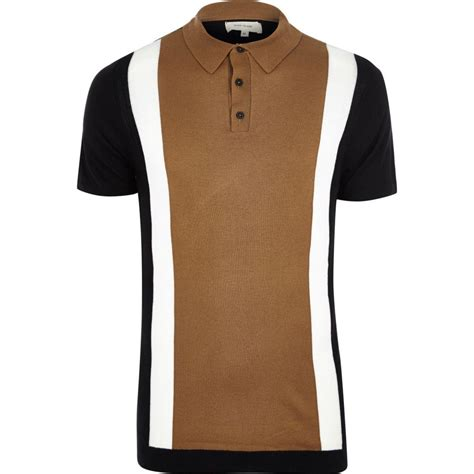 color block polo shirt lyst river island brown colour block polo shirt in brown