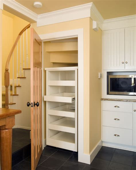 Kitchen pantry built in under the stair, with with pullout