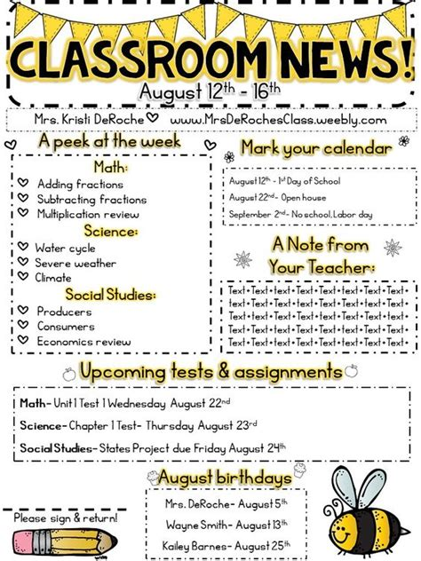 5th grade newsletter template editable bee theme classroom newsletter 3 for all