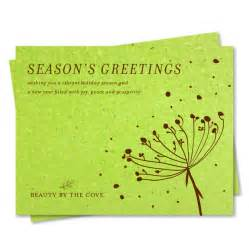 business new year greetings text green corporate cards on seeded paper organic