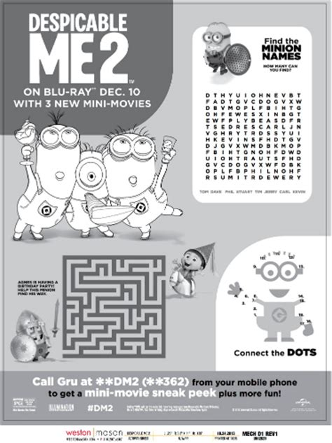 minions free printable activities and despicable me 2 printable minion activities puzzle page