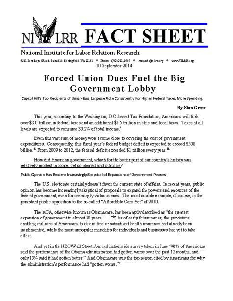 pr fact sheet template forced union dues fuel the big government lobby