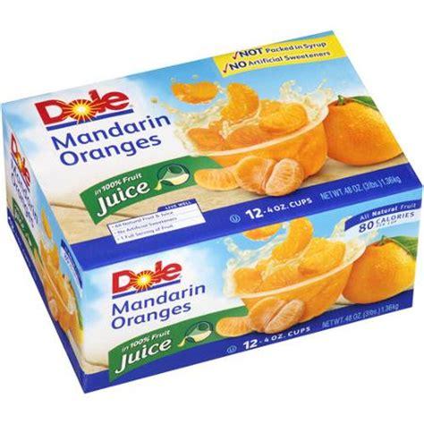 4oz Fa Tanger Mandarin Dole Mandarin Oranges In 100 Juice 4 Oz 12 Ct Walmart