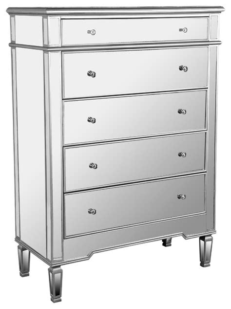 Mirrored Dresser Chest by Fra2011 Nicolette 5 Drawer Silver Mirrored Exclusive