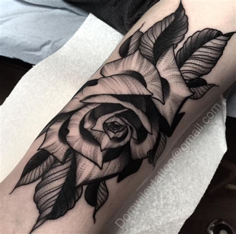 detailed rose tattoos big black ink detailed flower on forearm