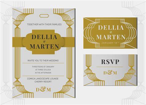 deco invitation templates grey gold deco line wedding invitation template
