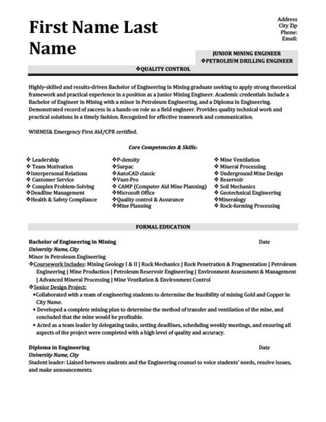 Mining Engineer Sle Resume by Petroleum Drilling Engineer Resume Template Premium Resume Sles Exle