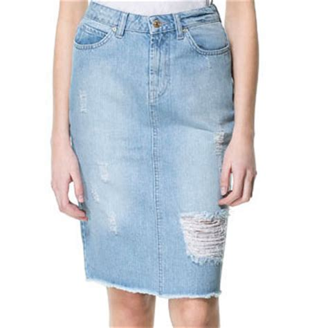 ripped denim pencil skirt zara telegraph