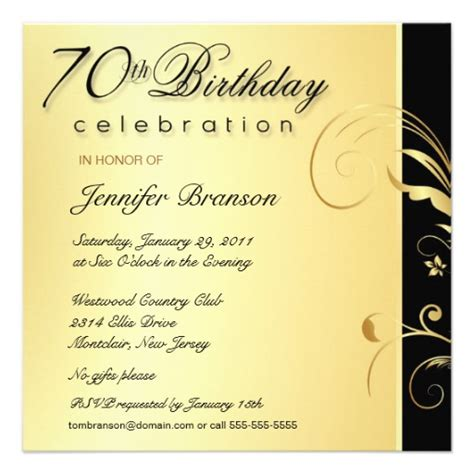 70th birthday invitation wording 70th birthday gold floral invites 5 25 quot square invitation card zazzle