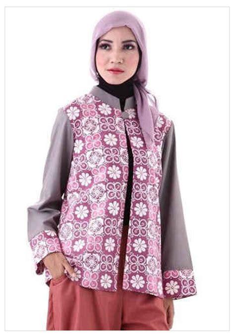 desain baju batik wanita hijab desain baju muslim cardigan modern kombinasi batik 2016