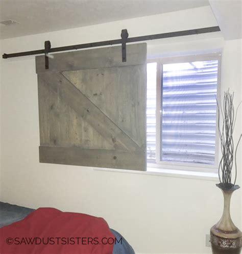 Diy Barn Door Style Window Covering Sawdust Sisters Barn Door Window Covering