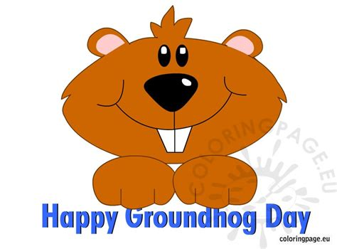 groundhog day and happy day happy groundhog day coloring page