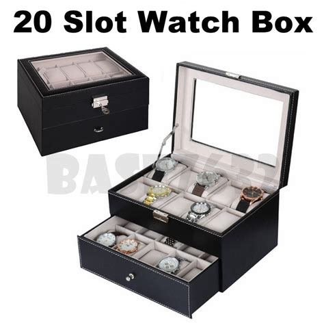 Kotak Jam Watches Box Uk35x9x12 stylish 20 slot premium pu leather display storage box organizer kotak jam tangan