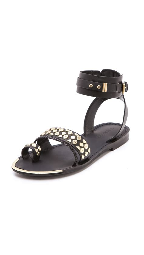 studded flat shoes boutique 9 pahana studded flat sandals in black lyst