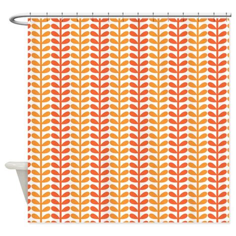 Funky Kitchen Curtains Funky Orange Leaves Shower Curtain By Pinkinkart2