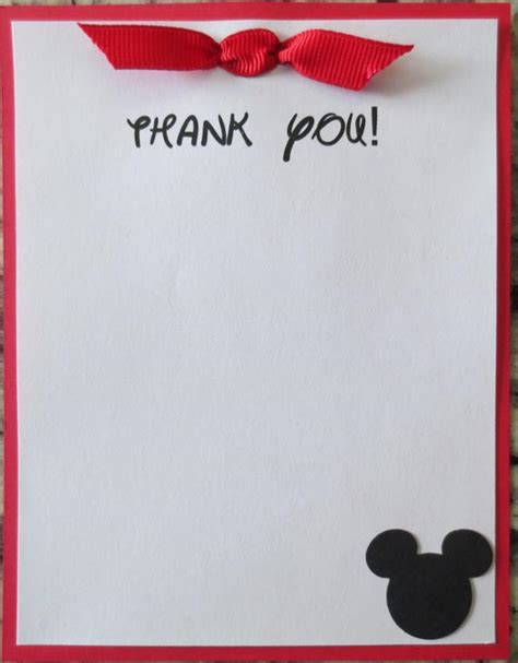 Mickey Mouse Greeting Card Template by Mickey Mouse Thank You Cards By Twocraftycreations On Etsy
