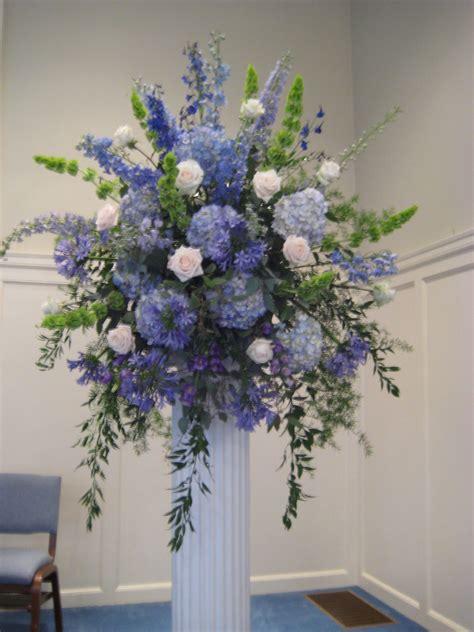 Wedding Flowers Hydrangea by Hydrangea Delphinium Bells Of Ireland Agapanthus Blue