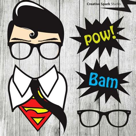 free printable photo booth props speech bubbles superhero props clark kent superman photo booth props