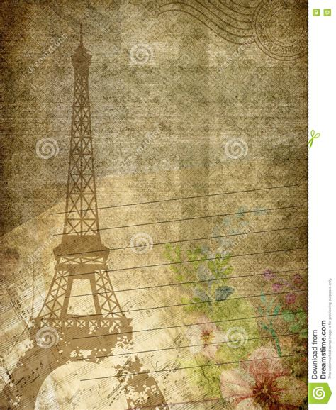 grunge paper texture with eiffel tower note and flowers stock illustration illustration
