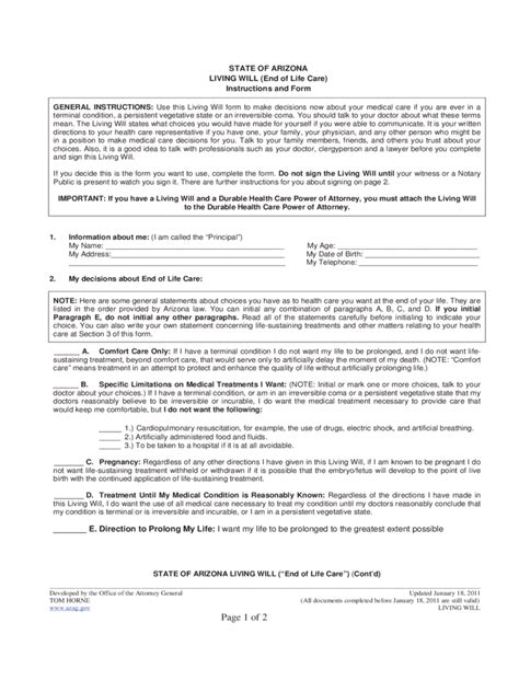Living Will Form 7 Free Templates In Pdf Word Excel Download Free Will Template Arizona