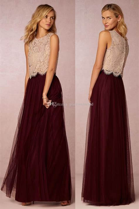 Sarya Maxi cheap 2016 burgundy bridesmaid dresses lace top and tulle skirt dresses for wedding wedding