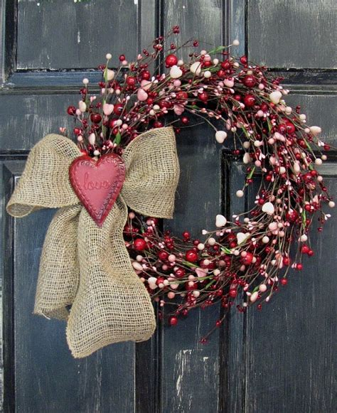 Country Star Decorations Home by Valentine Wreath Pink Heart Amp Red Berry Wreath By