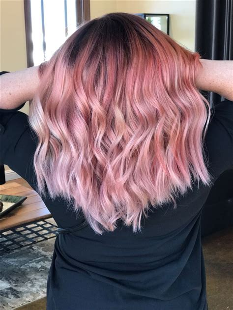 medium length hairstyles for straight hair rose gold layered bob rose gold ombre vivid hair pink medium length wavy