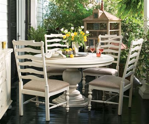 paula deen dining room set paula deen home linen round pedestal extendable dining
