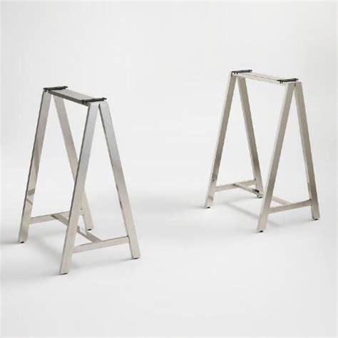 chrome sawhorse table legs chrome colton mix match sawhorse desk base market