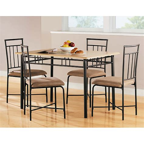 Kitchen Tables At Walmart Mainstays 5 Wood And Metal Dining Set Furniture Walmart