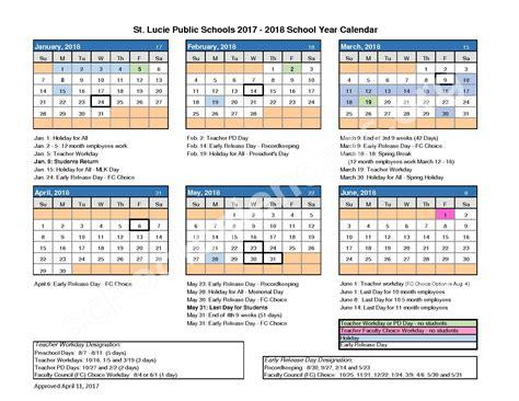 county schools calendar st county school district calendars fort fl