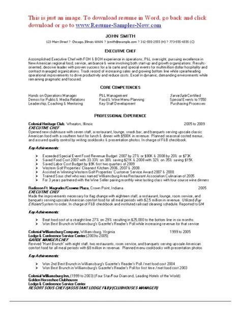 executive chef resume objective the best sle resume for sous chef