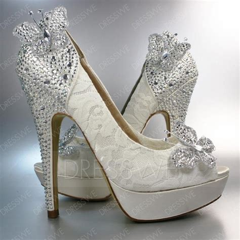 fashion beading butterfly high heel peep toe wedding shoes