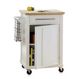 real simple 174 rolling kitchen cart in white bed bath beyond