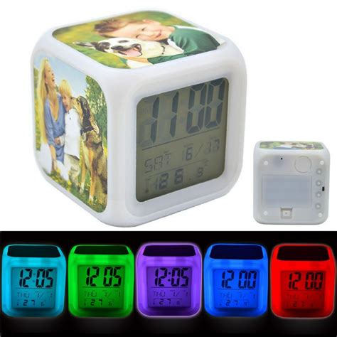 light up alarm clock personalised 3 photo colour changing light up alarm clock
