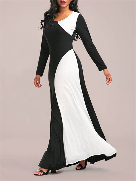 black and white pattern long sleeve dress color block maxi formal dress with long sleeve in white