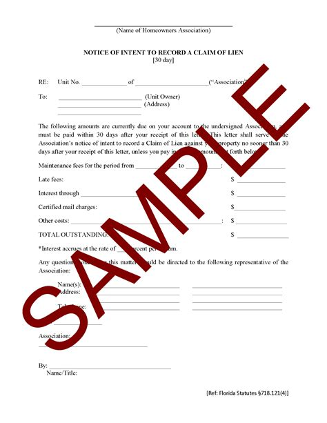 Notice of Intent to Record a Claim of Lien   HOA Member