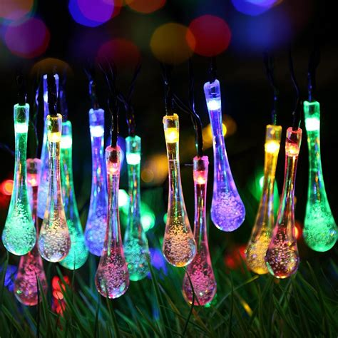 solar powered raindrop string lights outdoor solar string lights adorable home